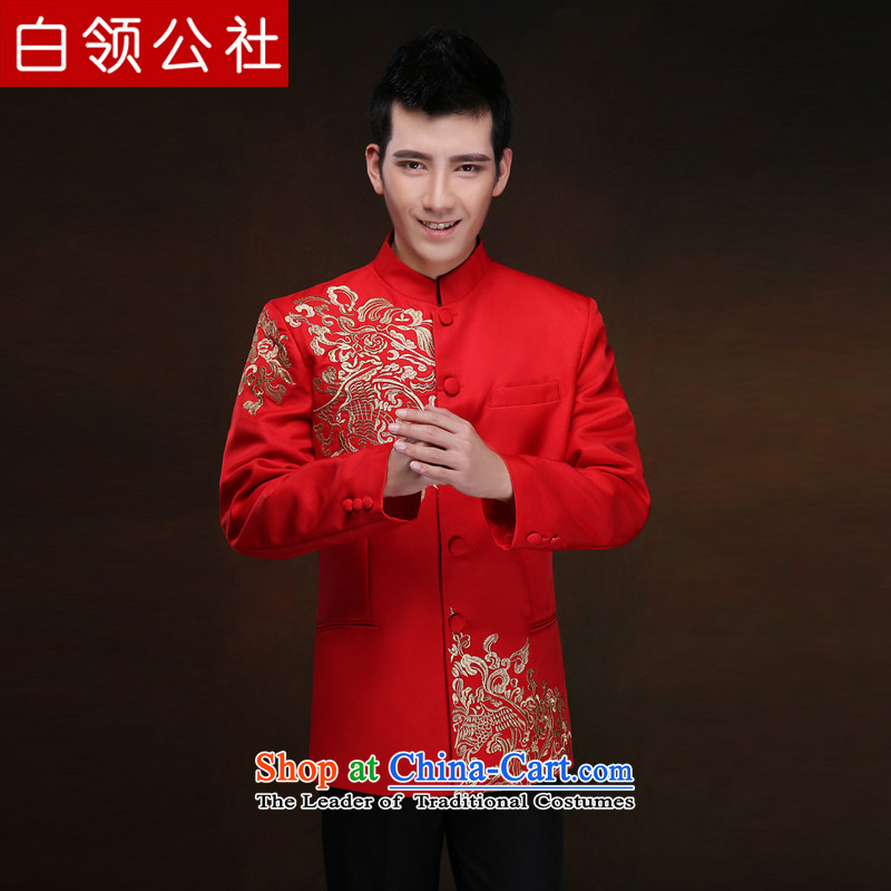 White-collar corporation men Soo-Wo Service collar Chinese tunic red Tang Dynasty Chinese style wedding dress, Sepia bridegroom services marriage welcome drink Soo kimono gown red embroidery Sau Wo Service聽M