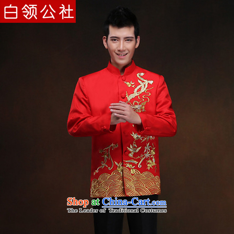 White-collar corporation men Soo-wo service of the bridegroom bows services-soo and Chinese wedding dress Men's Mock-Neck Chinese tunic auspicious retro TANG Sau Wo Service Pack costume red embroidery,?XL
