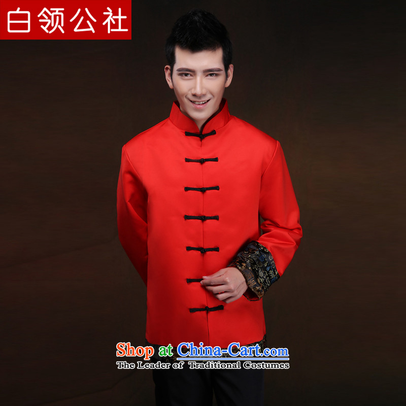 White-collar corporation men Soo-Wo Service Chinese style wedding red men married to groom Tang Dynasty style robes Sau Wo Service Cheongsams Chinese tunic national drink red dress?L