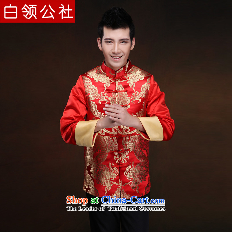 White-collar corporation men Soo-Wo Service China wind retro collar Chinese wedding dress 2015 New bridegroom bows Tang dynasty wedding-dress men Soo kimono RED?M
