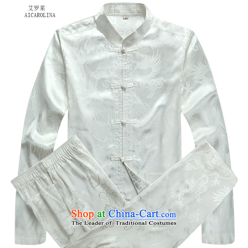 Hiv Rollet Fall_Winter Collections of older Mock-neck Tang Dynasty Recreation kits xl father loose coat White聽XXL Kit