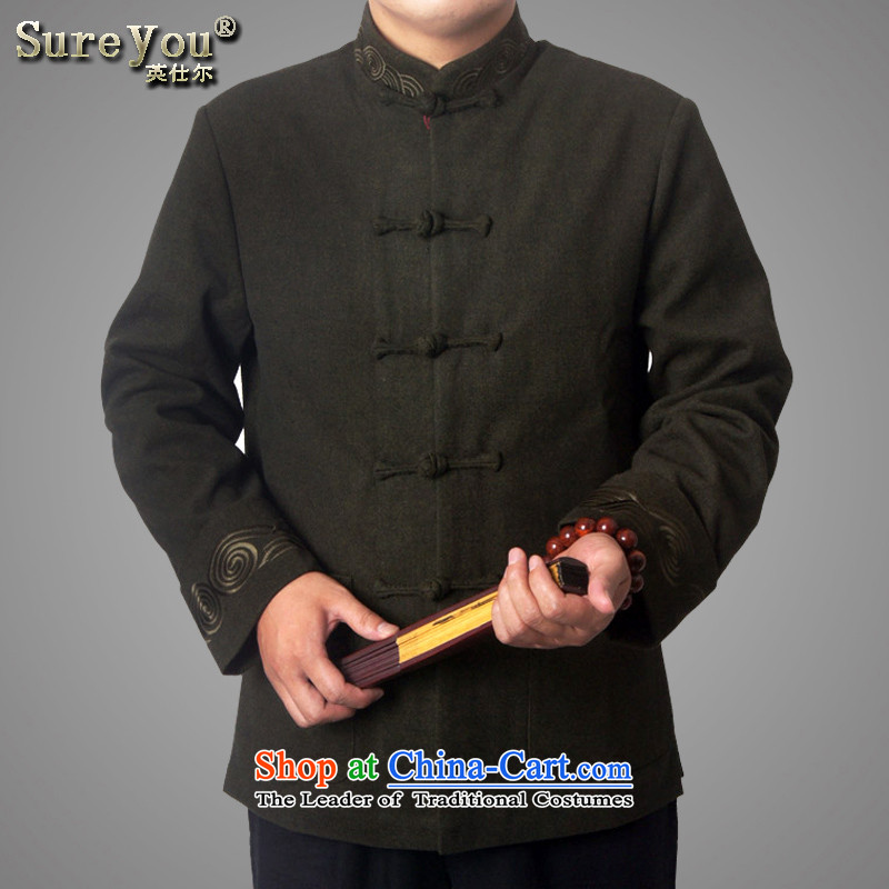 Mr Rafael Hui-ying's New Man Tang jackets spring long-sleeved shirt collar male China wind Chinese elderly in the national costumes festive holiday gifts Green 766 185