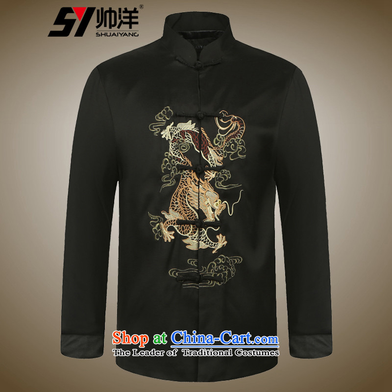 The new 2015 Yang Shuai China Wind Jacket Tang Men's Mock-Neck Chinese clothing national costumes Black?185