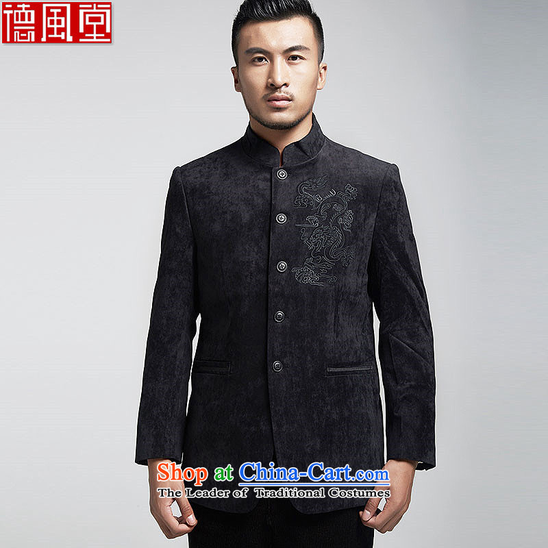 De Fudo Dragon High Tang dynasty men in spring and autumn 2015 Sau San jacket boutique Chinese shirt Chinese tunic China wind men black?L