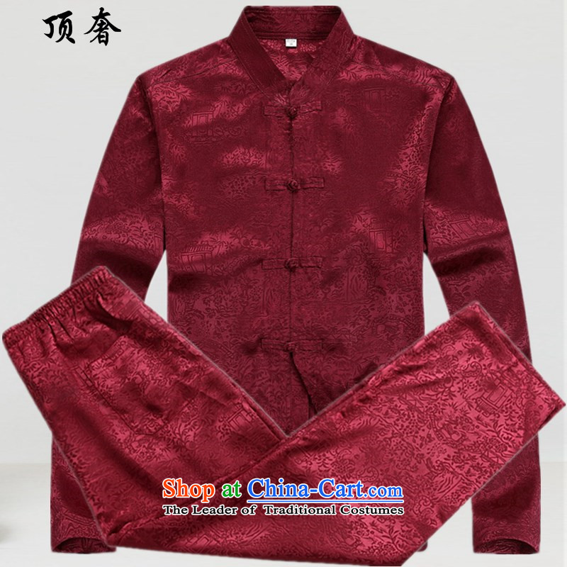 Top Luxury燼utumn 2015 Tang dynasty on men and a long-sleeved men Tang jackets of ethnic disc detained Tang blouses classical older Tang dynasty 8060_ Red Kit燲XL_180