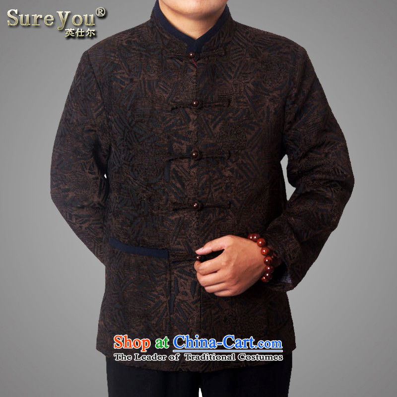 Mr Rafael Hui-ying's New Man Tang jackets spring long-sleeved shirt collar male China wind Chinese elderly in the national costumes festive holiday gifts Brown 770 170