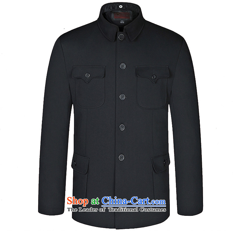 In 2015, New autumn and winter in older men Chinese tunic middle-aged men jacket collar father replacing older persons jacket is hidden deep cyan?80/190