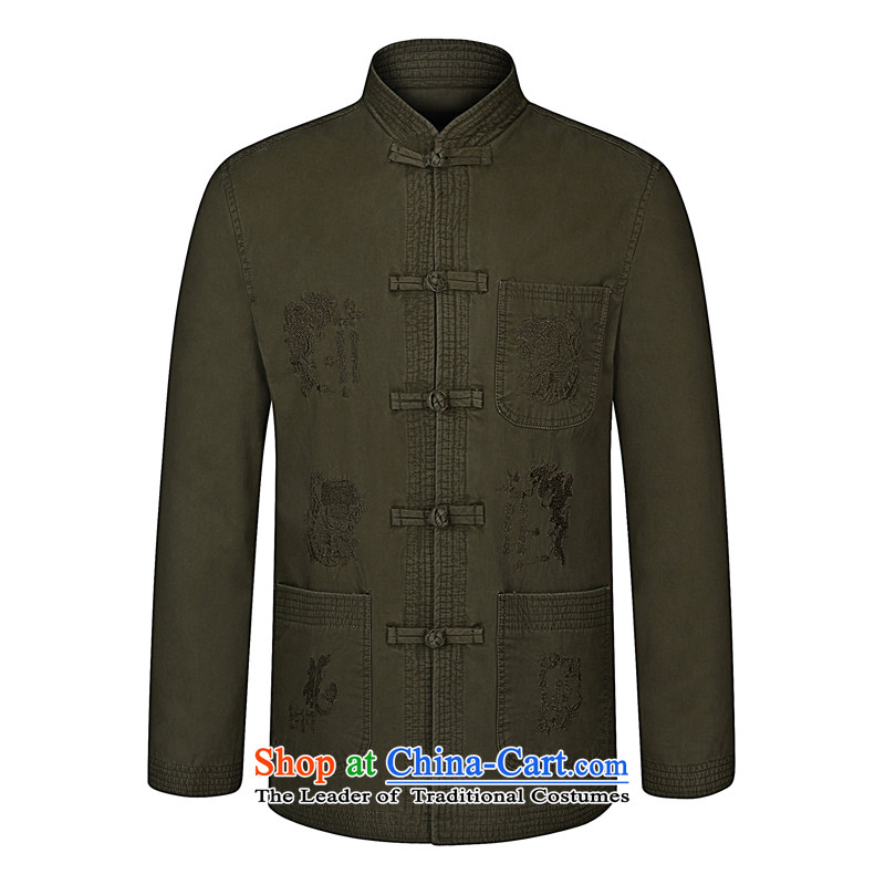 As well as in the number of older men's, Mr Tang dynasty modern national wind spring new middle-aged men casual cotton jacket China wind modern Tang dynasty khaki?175