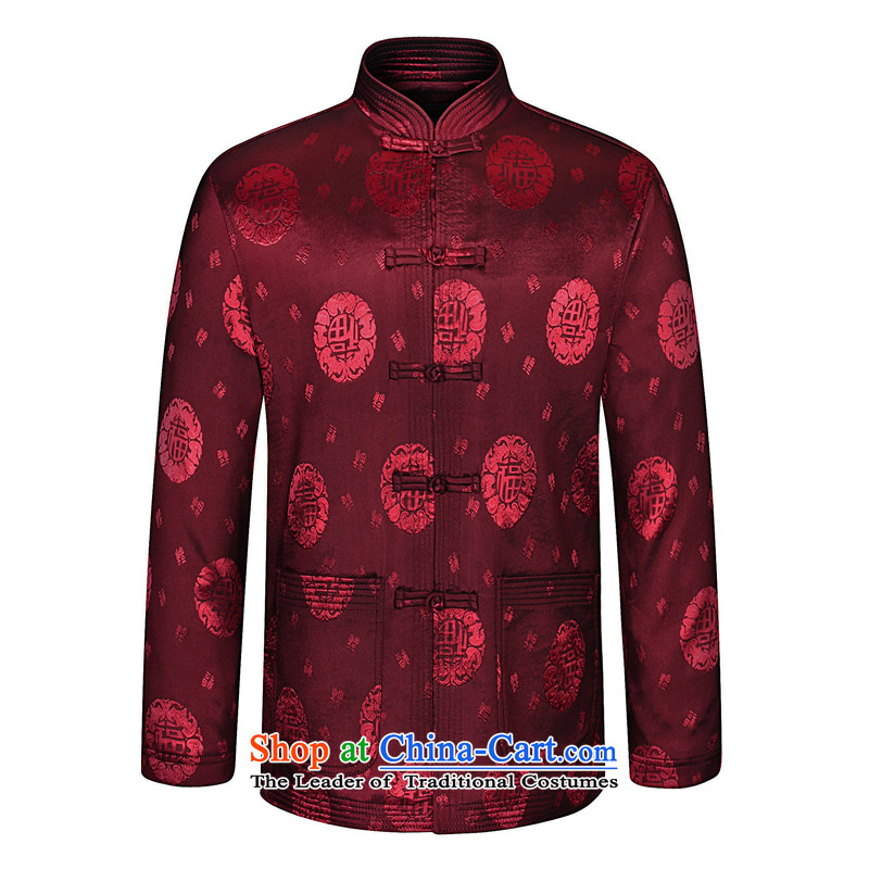 In spring and autumn leaf fu shou long-sleeved blouses from older Tang Fu Shou Tang Jacket coat of ethnic Chinese Spring and Autumn Men's Mock-Neck tray clip fu shou Tang dynasty wine red?190