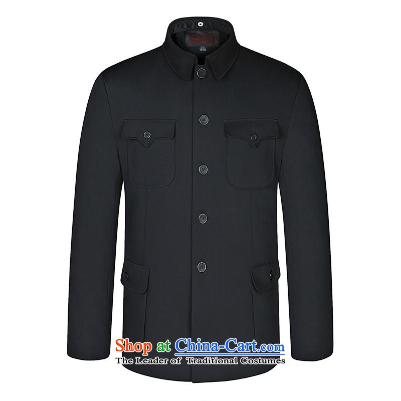 As Mr Man Chun, older Chinese tunic men's father jacket Zhongshan services fall and winter thick, Collar Father Chinese tunic black single 190