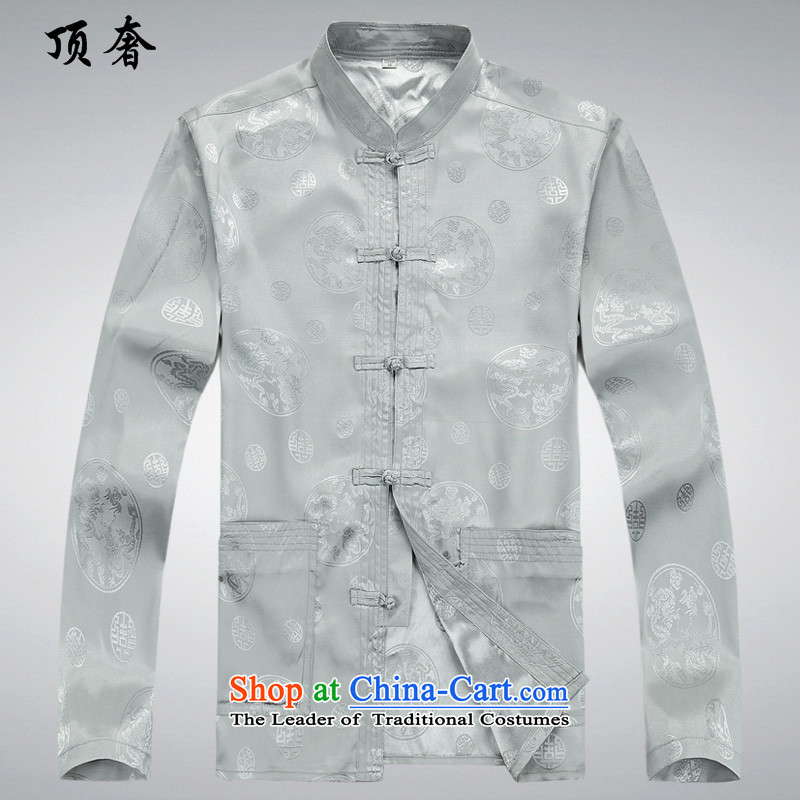 Top Luxury Tang dynasty male disc spring and autumn summer long-sleeved) thin Chinese clothing Men's Mock-Neck Shirt loose version older Tang Dynasty Package red too long-sleeved kit life jackets silver gray�L/170 Kit