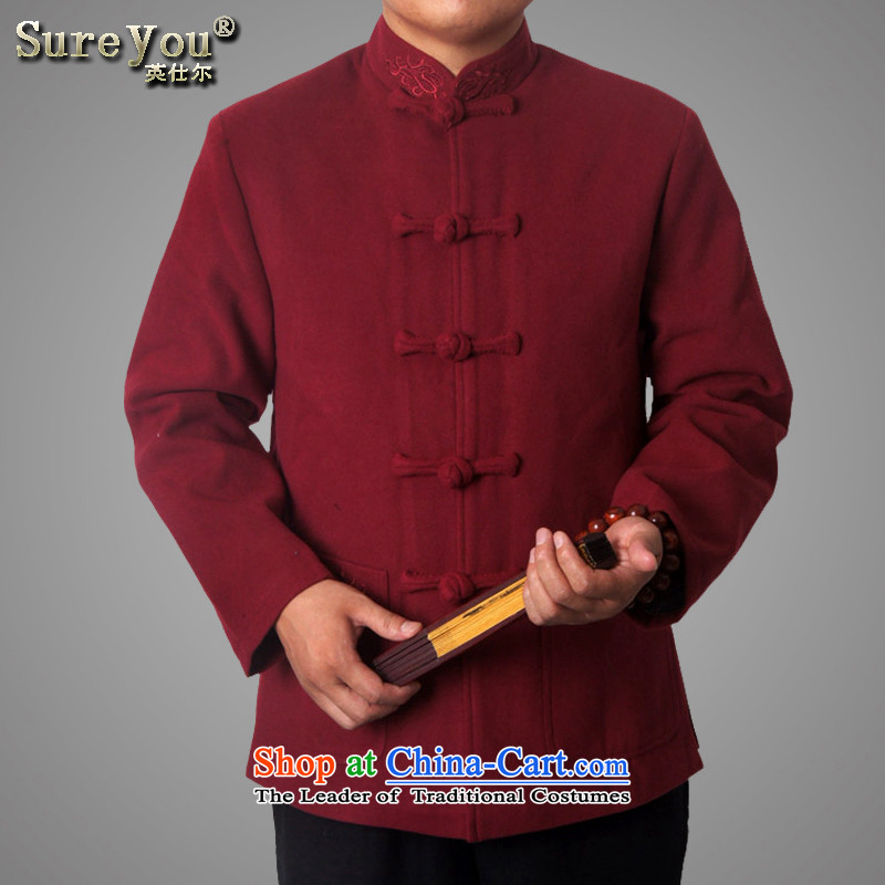Mr Rafael Hui-ying's New Man Tang jackets spring long-sleeved shirt collar male China wind Chinese elderly in the national costumes festive holiday gifts deep red 769 180
