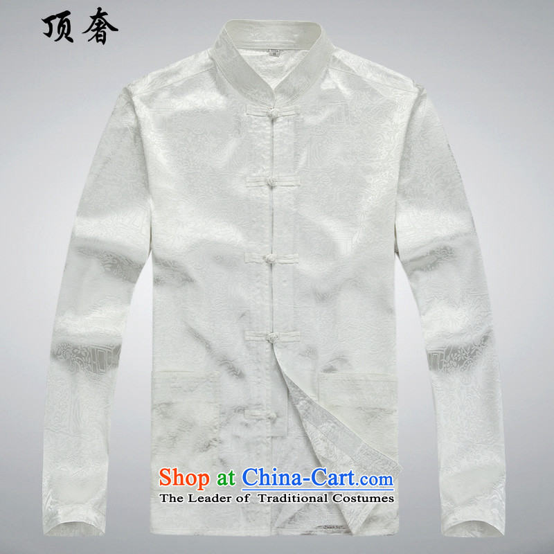 Top Luxury Men long-sleeved shirt of older persons in the Tang dynasty and the spring and fall of low summer loose Version Chinese national costumes shirt xl blue Tang Dynasty Package聽S_165 white T-Shirt