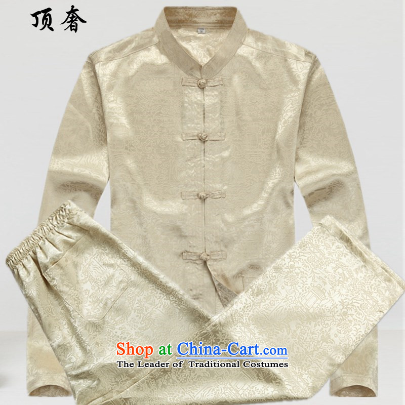 Top Luxury Men long-sleeved shirt of older persons in the Chinese Tang dynasty package male summer spring and fall loose version Tang dynasty and long-sleeved shirt, served to increase the River During the Qingming Festival  of beige kit?XL/180