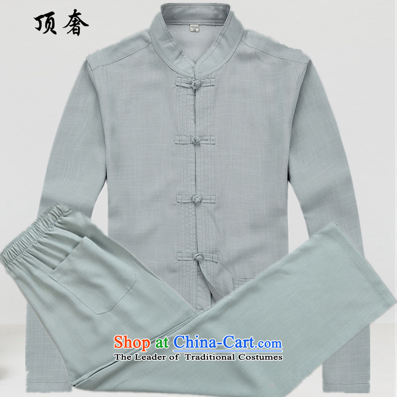 Top Luxury men Tang dynasty long-sleeved shirt, men's shirts, ethnic-clip Classical China wind-free ironing Tang dynasty 2043 of long-sleeved gray suit燬_165