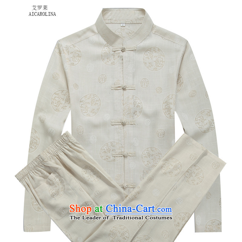 Hiv Rollet autumn and winter men Tang Dynasty Package round Ma long-sleeved Tang dynasty beige kit聽S