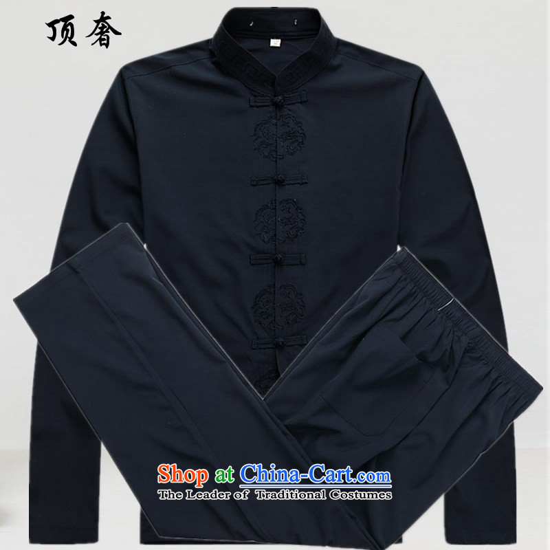 Top Luxury thin, long-sleeved Tang dynasty�2014 New Men's blouses China wind men Tang dynasty loose clothes in the short version older blue jacket kit�L/175