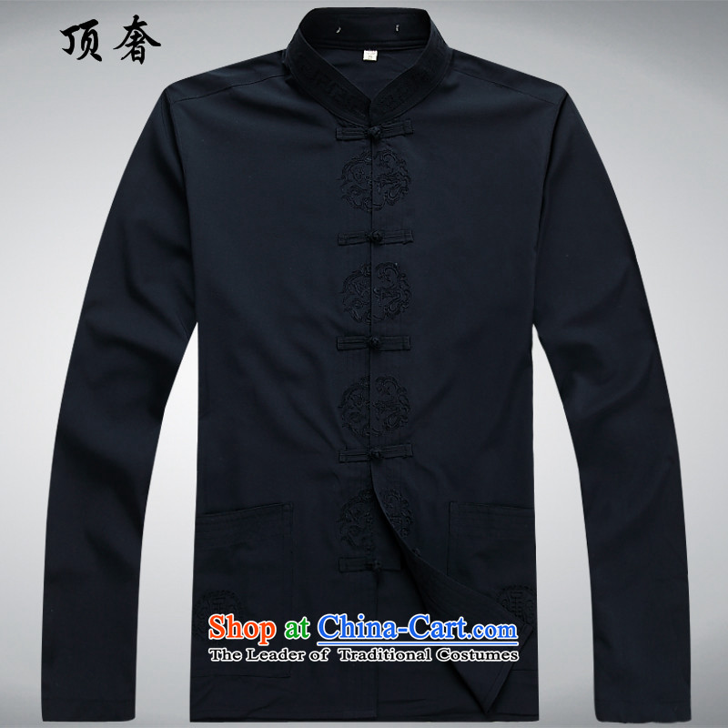 Top Luxury thin, long-sleeved Tang dynasty聽2014 New Men's blouses China wind men Tang dynasty loose clothes in the short version older blue jacket kit聽L/175, top luxury shopping on the Internet has been pressed.