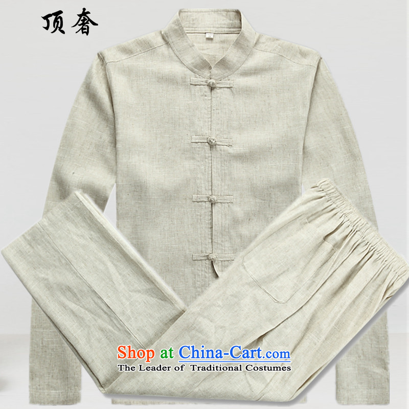 Top Luxury Tang Dynasty Men long sleeved shirt men fall and winter clothing, Hon Wah National Mock-Neck Shirt China wind in older Tang Dynasty Package gray 2042, beige kit聽XL_180