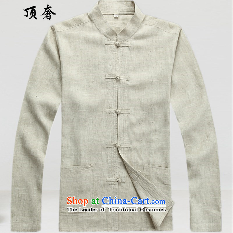 Top Luxury Tang Dynasty Men long sleeved shirt men fall and winter clothing, Hon Wah National Mock-Neck Shirt China wind in older Tang Dynasty Package gray 2042, beige kit聽XL/180, top luxury shopping on the Internet has been pressed.