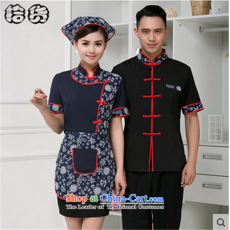 In the fall of 2015, the Volume pick new Kukeng welcome Chinese Tang dynasty hotel short-sleeved clothing work Food & Beverage Attendant uniforms uniforms men and women men's blue?XXL