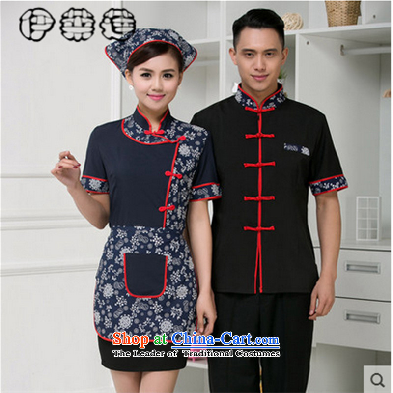 Hirlet Ephraim Fall 2015 hotel hotel restaurant waiters working dress uniform short-sleeved Kukeng welcome Chinese Tang dynasty blue overalls�XXXL