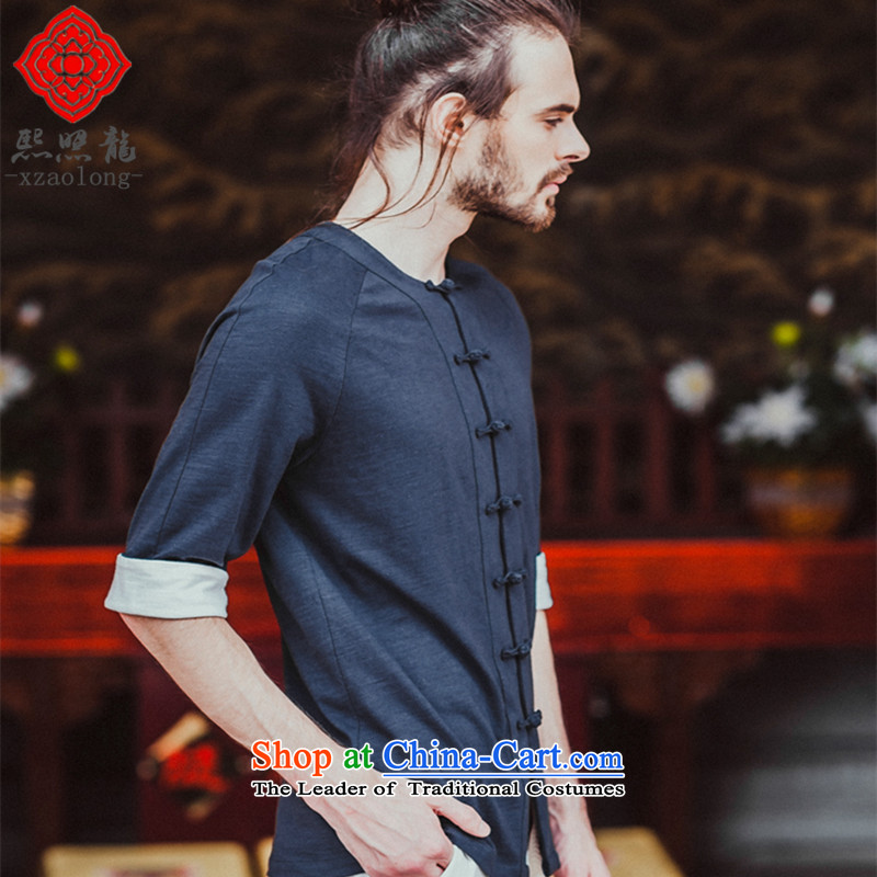 Hee-Snapshot Yong XZAOLONG_ original men Tang Dynasty style robes of 7-rotator cuff round-neck collar Chinese knitting men akikura blue聽L