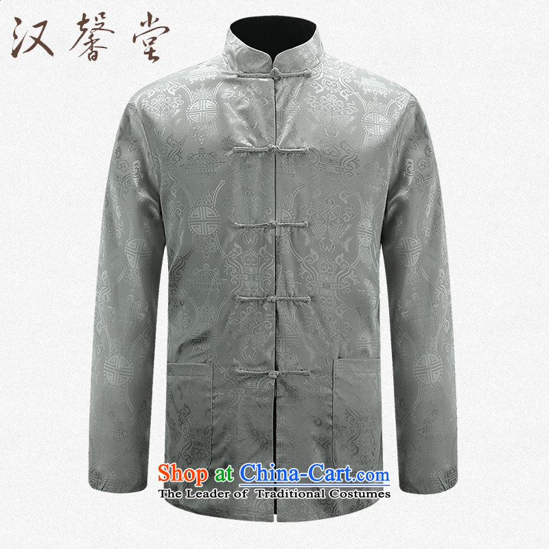 Han Xin Tong Tang dynasty and long-sleeved men duplex Tang Dynasty Show Services may be through positive and negative costumes and the Spring and Autumn Period China wind men jacquard retro sheikhs wind Tang dynasty black and silver 2-sided�M