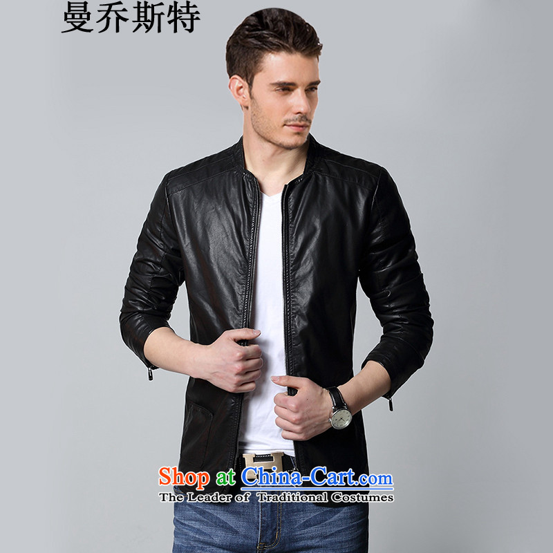 Cayman Jos AD 2015 Tang Dynasty Chinese tunic, Mr Ronald Sau San thin leather jacket male national dress casual jackets and Imitated leather leather garments male Black XL