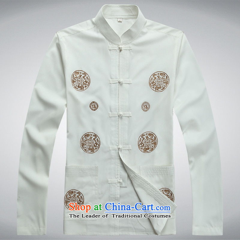 The Chinese Tang dynasty Sau San collar autumn and winter long-sleeved exercise clothing tai chi services for older jogging services white?190XXXXL