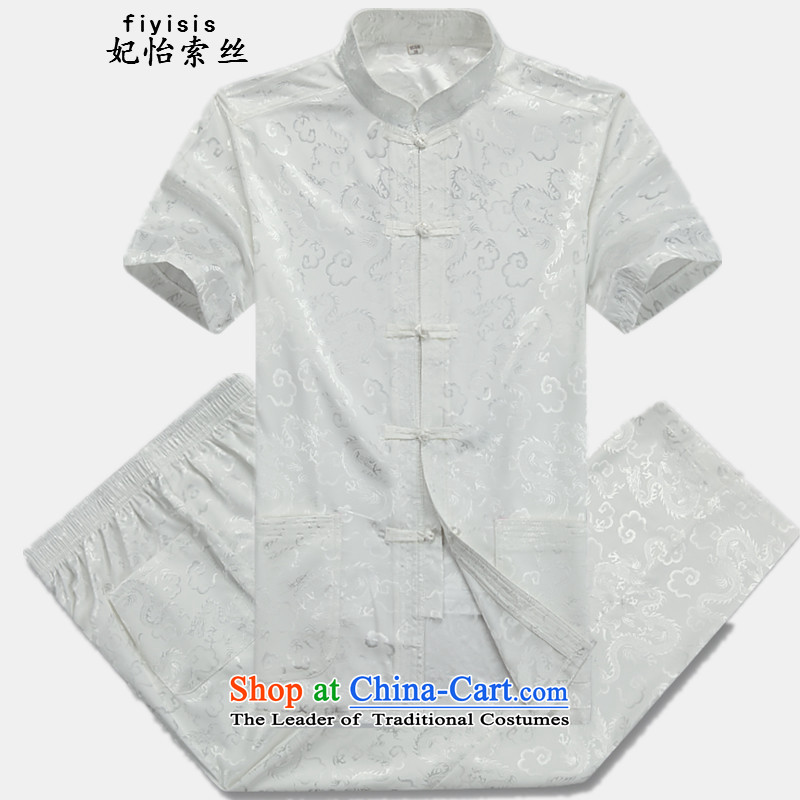 Princess Selina Chow _fiyisis_ new summer, older men Tang Dynasty Short-Sleeve Men National Dress Casual Tang Dynasty Package exercise clothing -07 Dragon white T-shirt and pants Kit聽175