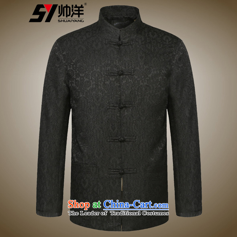 Install the latest Autumn Yang Shuai) Men's Shirt Jacket Tang China wind collar men Chinese jacket EMBROIDERED VELET PILE Black?170
