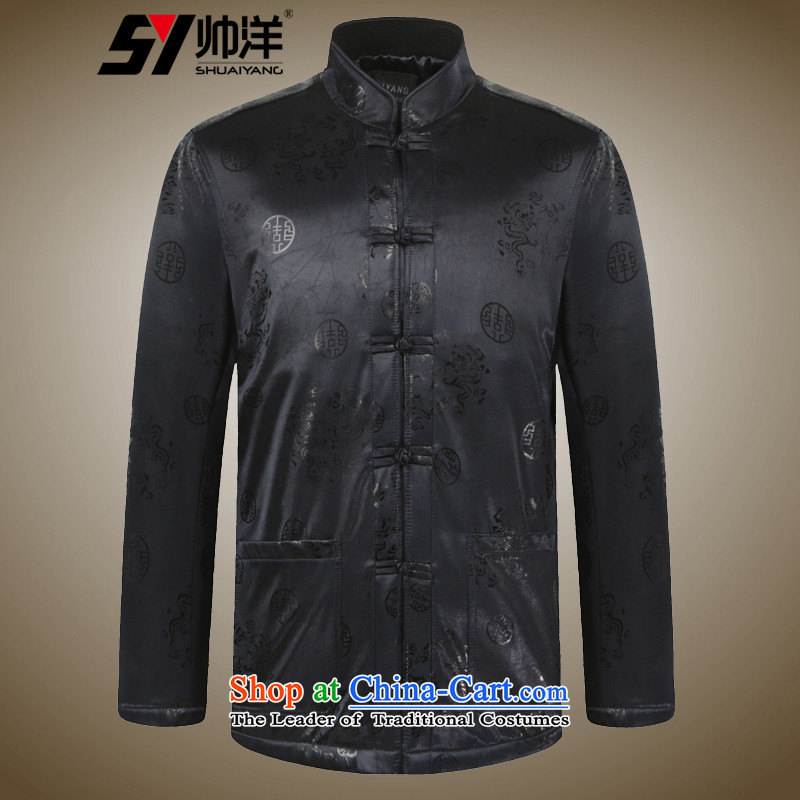 Yohei Kono new autumn and winter cool, older men Tang Dynasty Chinese robe shirt jacket coat thick warm China wind Satin Black聽175