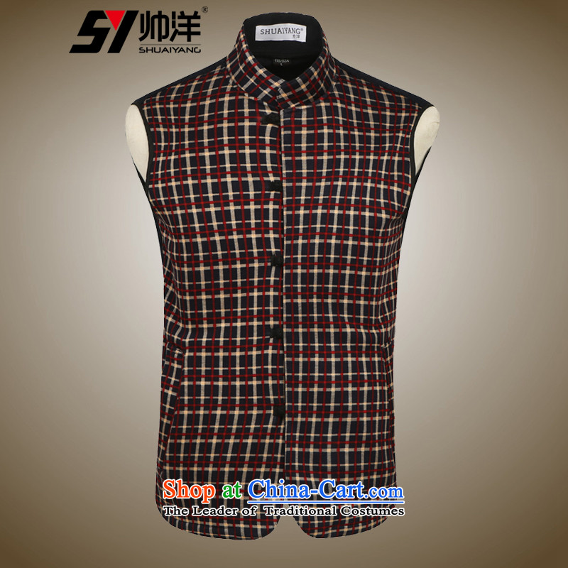 Shuai ocean autumn and winter new men, a Tang dynasty China wind youth Sau San onma folder at shoulder Chinese vest grid spend聽180