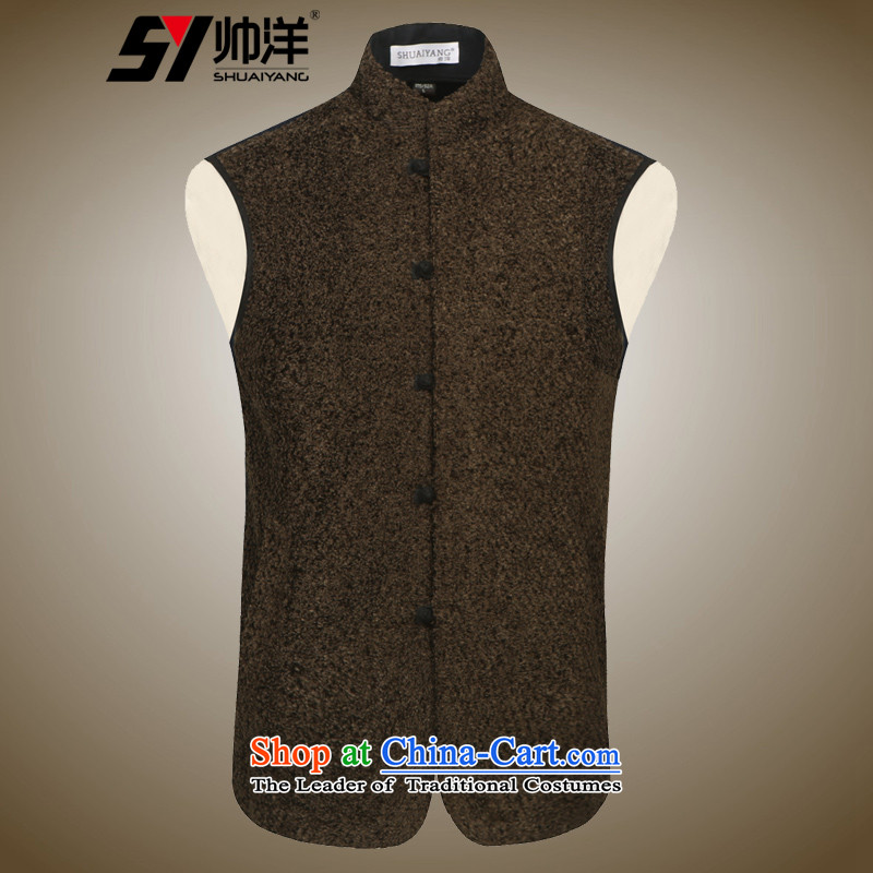 Shuai ocean autumn and winter new men, a vest warm wind Chinese onma folder Mock-neck China wind and Kampala shoulder brown聽180