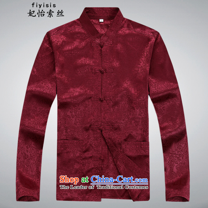 Princess Selina Chow in older persons in the Tang dynasty and short-sleeve kit China wind summer ethnic Han-loaded with grandpapa father XL New Pants Shirts red T-shirt and pants Kit?185