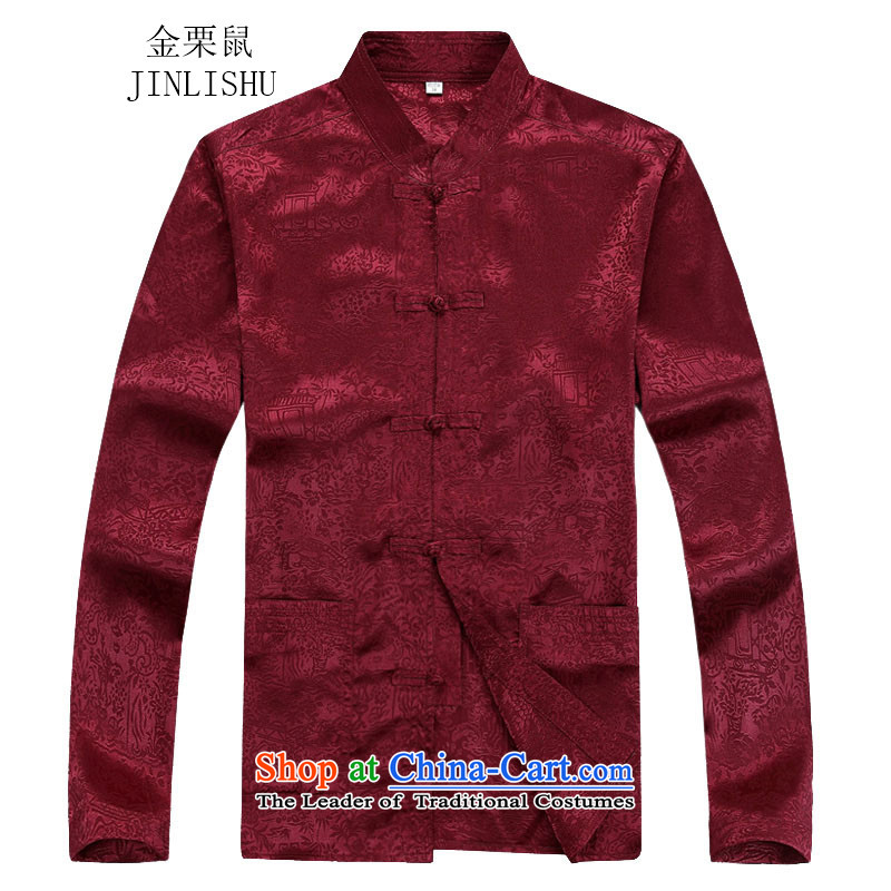 Kanaguri mouse autumn new long-sleeved men in older men Tang blouses red T-shirt聽XXL