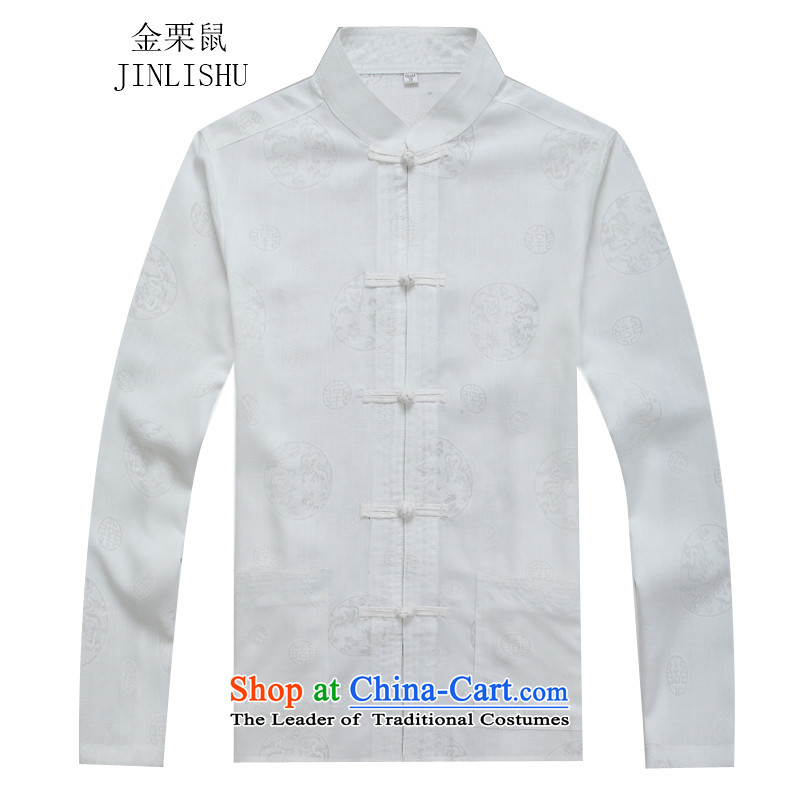 Kanaguri mouse autumn and winter new Tang dynasty and long-sleeved Tang Dynasty Package white shirt?XL