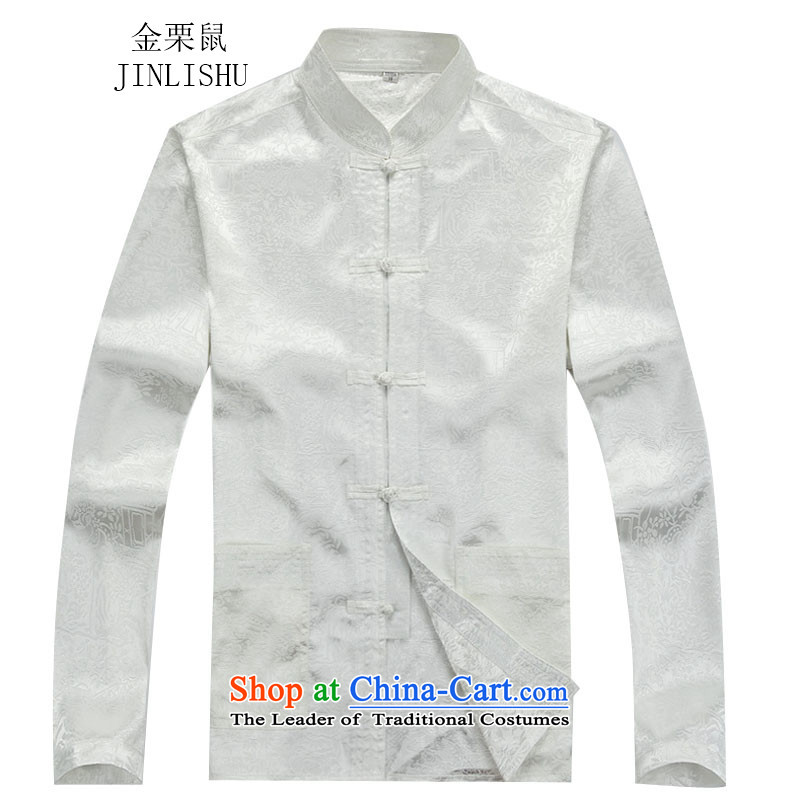 Kanaguri mouse fall of Chinese long-sleeved men of older men Tang blouses燲XXL white T-Shirt