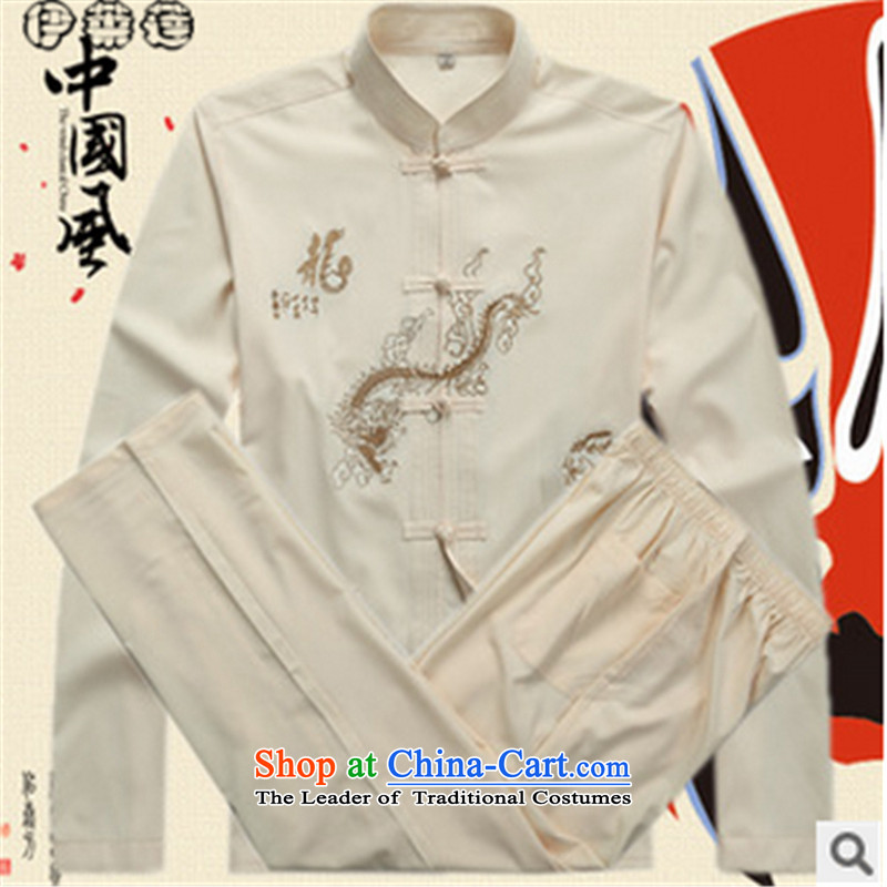 Hirlet in the autumn of 2015, New Ephraim, older men fall with long-sleeved Tang Dynasty Large Dragon Loaded Mock-Neck Shirt DAD package T-shirt, beige trousers Kit聽185