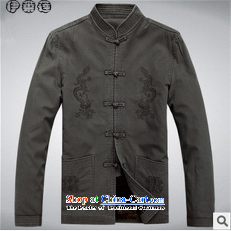 Hirlet Ephraim autumn 2015 New China wind in older men long-sleeved Tang dynasty male Tang blouses jacket coat male Chinese jacket light gray cotton plus 175