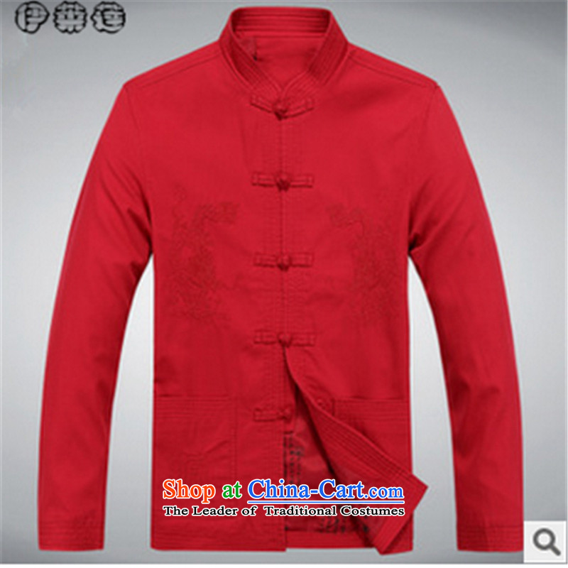 Hirlet Ephraim autumn 2015 NEW SHIRT middle-aged Chinese boxed Michael Mak Tang father replace collar leisure services and long-sleeve sweater in a ball of Red�0