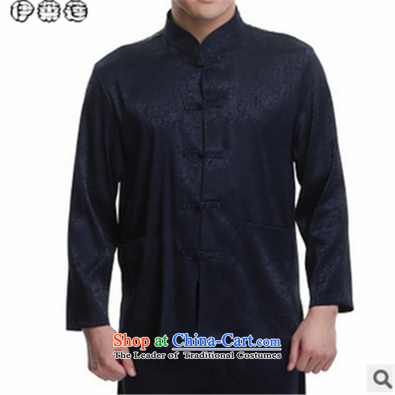 Hirlet in the autumn of 2015, New Ephraim, older men father boxed long-sleeved shirt with Tang Dynasty kung fu large jacket disk T-shirt clip kit Chinese tunic blue on the riverside?170