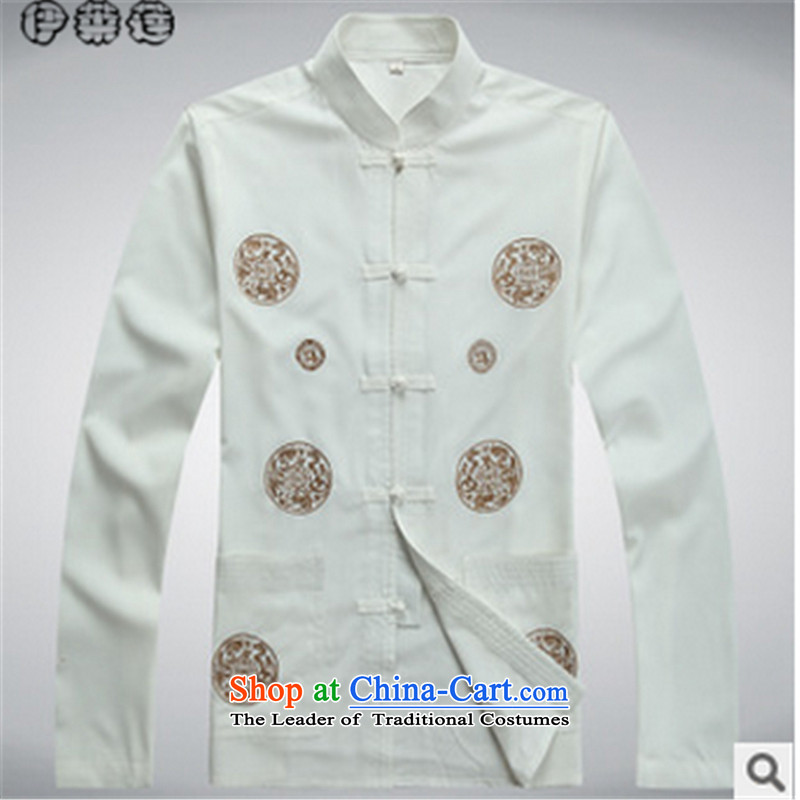 Hirlet in the autumn of 2015, New Ephraim, older men father boxed long-sleeved shirt with Tang Dynasty kung fu large jacket disk T-shirt clip Chinese tunic White?190