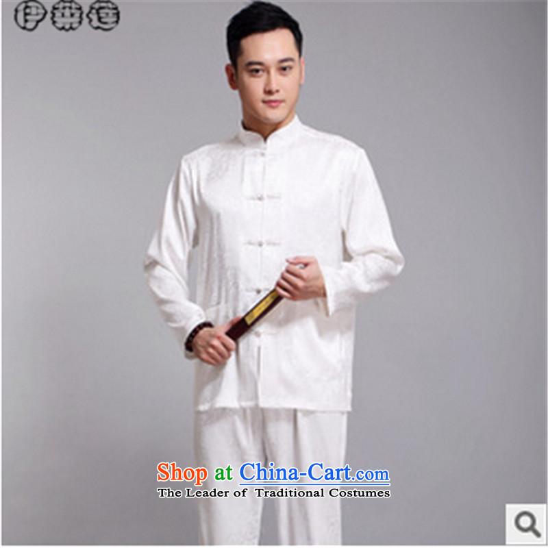 Hirlet Ephraim autumn 2015 new middle-aged men father boxed long-sleeved shirt Tang Dynasty Chinese shirt, forming the Netherlands Netherlands ball-kung fu Services White聽190
