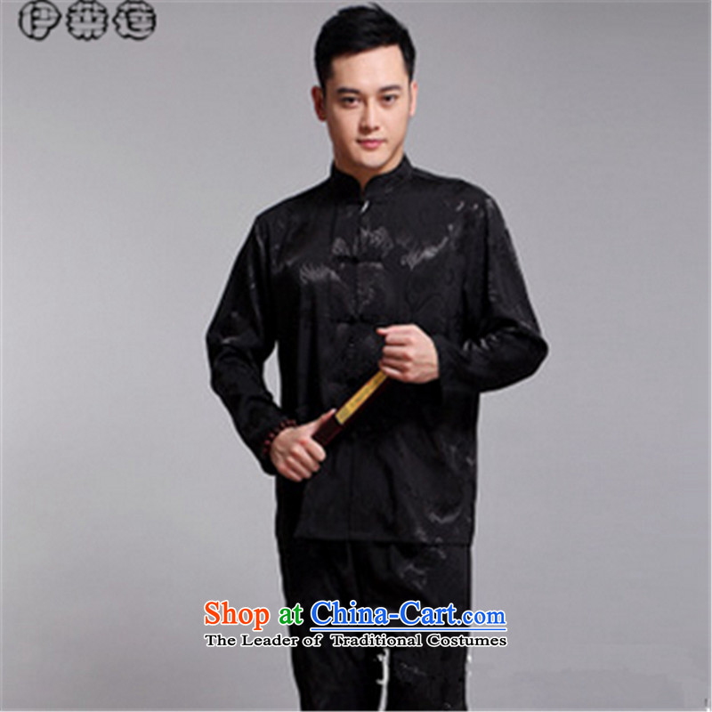 Hirlet Ephraim autumn 2015 New Tang dynasty China wind men in long-sleeved older Chinese Dress Dad detained disc is mounted on a black coat?180