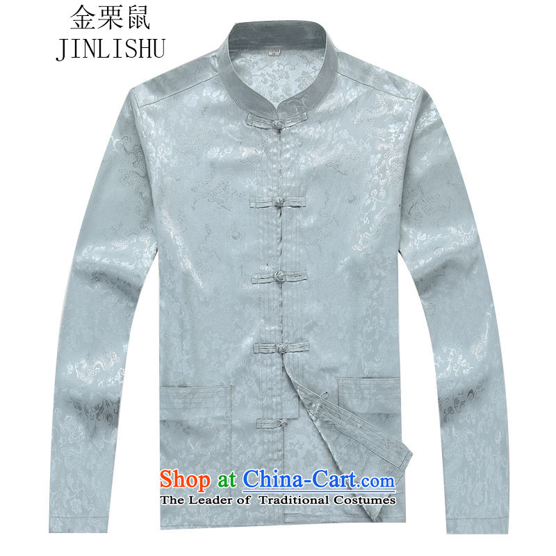 Kanaguri mouse autumn New Kit Tang dynasty Long-sleeve Kit Man Tang dynasty gray suit聽, L kanaguri mouse (JINLISHU) , , , shopping on the Internet