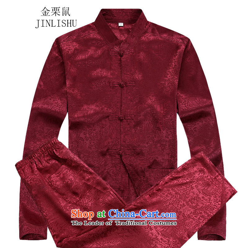 Kanaguri mouse fall of Chinese long-sleeved men of older men Tang blouses red kit聽S