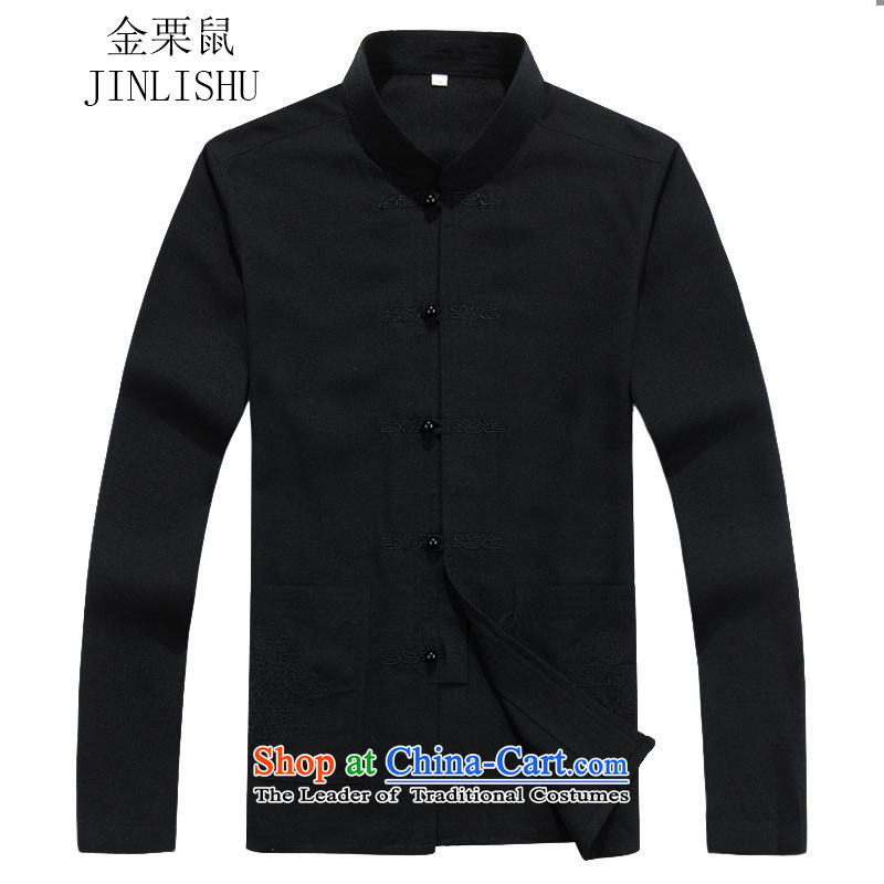 Kanaguri mouse men in Tang Dynasty older men long-sleeved Tang Dynasty Package for autumn and winter new black shirt�S