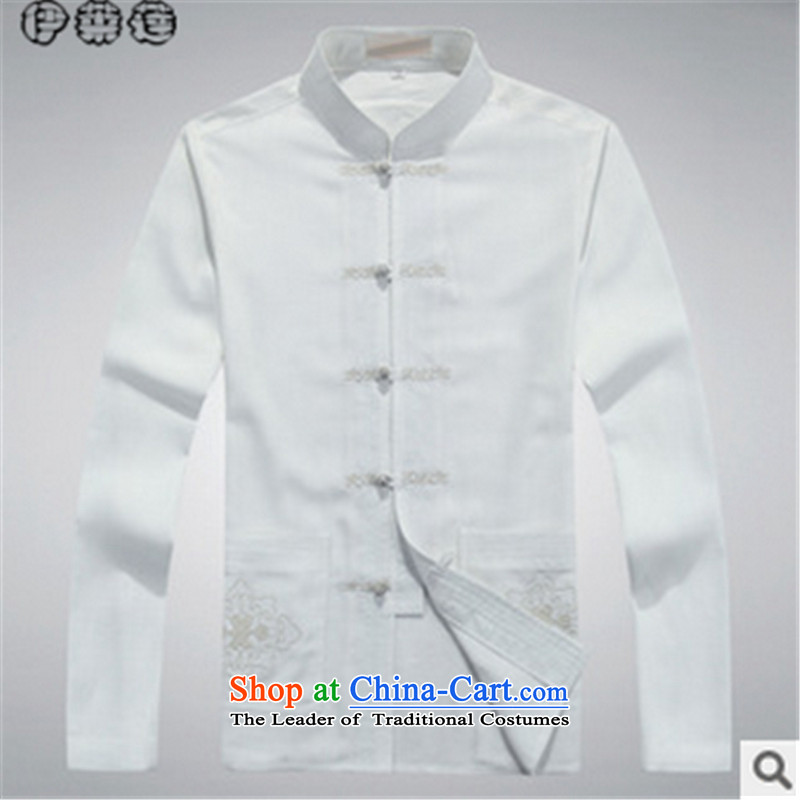 Hirlet Ephraim autumn 2015 New Tang dynasty men in long-sleeved shirt clip Chinese dress up older father Jacket Kit White?185